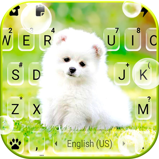 Cute White Puppy Keyboard Background icon